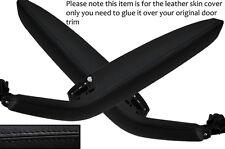 BLACK LEATHER 2X FRONT DOOR HANDLE ARMREST COVERS FITS AUDI A3 8P S3 04-12 5DR