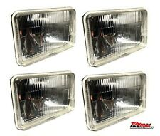 "FOUR 4x6"" H4 Glass Headlights Conversion Halogen Semi Sealed Kit HID & LED"