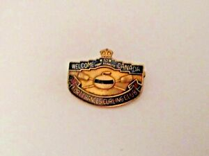 OLD VINTAGE WELCOME TO FORT FRANCES CANADA FORT FRANCES CURLING CLUB SPORTS PIN