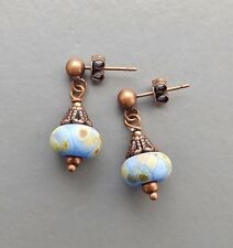 Speckled Art glass drop earrings .. lampwork blue beige copper bead jewellery
