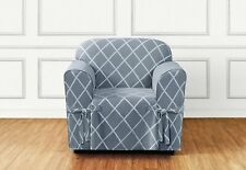 Sure Fit 100 % Cotton Lattice Box Style Seat Cushion Pacific Blue
