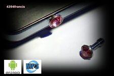 Bijou BRILLANT Rose Protection pour Prise Jack Smartphone Android MP3