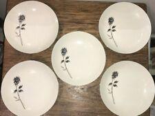 New listing Bristol Fine China Japan Rendezvous set of 5 Coupe Soup Bowls Charcoal Rose Vguc