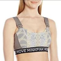 MINKPINK Move Women's Vinyasa Sports Bra gray Multi color print size Small New