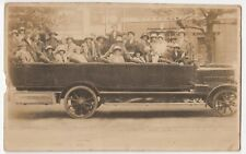 Motoring; Charabanc With Crew & Passengers RP PPC,c 1920, Note Royal Enfield Ads