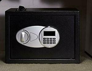 "Security Safe Box 0.5 Cubic Ft 9.8"" Steel Digital W Key Black Floor Door Bolt NW"