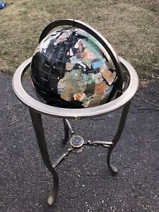 "36"" Tall Black Floor Gemstone World Globe with Tripod Silver Zinc Alloy Stand"