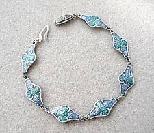 Nouveau Inspired Sterling Silver & Aqua Blue Enamel Bracelet