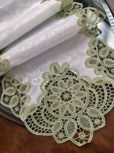 """Crochet Lace Vintage Style Table Runner Dresser Scarf 73""""x 16"""" Sage Green Lace"""