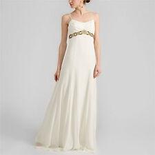 NICOLE MILLER SILK BEADED EMPIRE WAIST BRIDAL WEDDING GOWN DRESS 4 $2420 LA0005