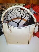 Giani Bernini Women's satchel, Braid Pebble Leather Hobo Shoulder Ivory, $136