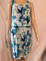 Marc New York Andrew Marc Womens 4 Sleeveless Blue Green Abstract Straight Dress