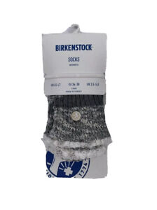 Birkenstock Womens gray melange Fashion Slub with lace crew sock size M 5-7