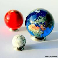 Orrery Planet Marbles 1:300 Million Scale - Giant 35mm Earth Globe + Mars & Moon