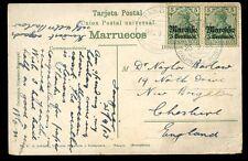 Morocco Germany 1913 PPC 5c/5pf overprint x2 Tanger Deutsche Post pmks to GB