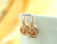 18K Rose Gold GP Austrian Crystal Champange Fashion Jewelry Ear Earrings BR664