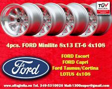 4 Cerchi FORD LOTUS TALBOT Minilite 8x13 ET-6 4x108 Wheels Felgen Llantas Jantes