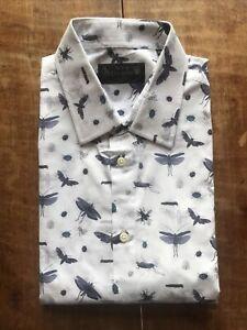 New & Lingwood White Bug Print Shirt