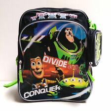 "Disney Toy Story Buzz & Woody 12"" Backpack Kids Boys School Book Bag Green Black"