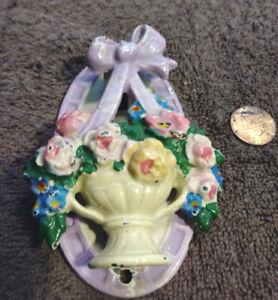 Antique HUBLEY Cast Iron Door Knocker Basket of Pink Flowers-Purple Bow #124