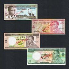 SET 1960s CONGO 100 FRANCS 0.5 1 5 ZAIRES P-6As 11As 12As 13Bs aUNC>SPECIMEN NR