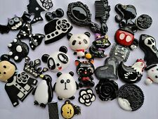 5 Resin Cabochons Assorted Lot Black White Mix Flat Backs Slime Charms