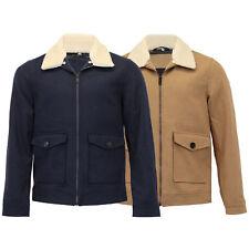 Mens Wool Mix Jacket Threadbare Flying Aviator Coat Sherpa Fleece Collar Lined