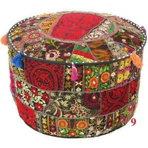Indian Pouf Ottoman Handmade Patchwork Footstool old Vintage Pouf Floor Pillow