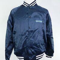 VTG WALKER GIRARD BLUE SATIN SNAP BUTTON COAT JACKET SIZE L RETRO 80s 90s