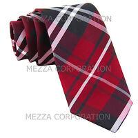 "New Men's Vesuvio Napoli plaid 2.5"" skinny Neck Tie Necktie only Party Prom Red"