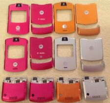 4 Motorola Razr V3 Cell Phones For Parts + Kit Magenta Orange Silver Chargers