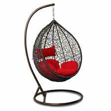 Outdoor Wicker Hanging Hammock W/Stand Proch Swing Chair Red Cushion