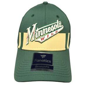 NEW Minnesota Wild Hat Authentic Pro Fanatics Flex Cap Size Medium / Large Green