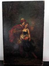 NARCISSE DIAZ DE LA PENA Scène Romantique Peinture Huile sur Toile Signé