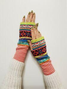 Neu Claire's Damen Mädchen Winter Bunt Glänzend Stulpen Fingerlose Handschuhe