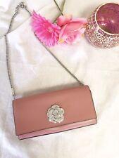 Michael Kors Bellamie Leather Crystal Floral Clutch Crossbody Rose Pink Silver