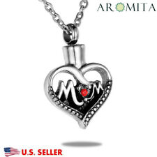 Premium Ruby Mom Heart Memorial Cremation Jewelry Ashes Keepsake Urn Necklace