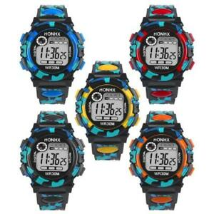 Kids Waterproof Children Boys Digital LED Sports Watch Alarm Date Watches Gift