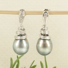 14k White Gold Diamonds Natural Silver Tahitian Pearl Dangle Earrings TPJ
