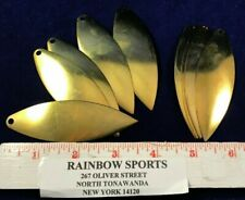 10 Worm Harness or Spinner Bait Blade Willow Leaf #7 Brass 3 1/2""