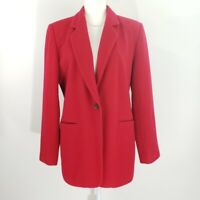 Harve Benard Red Wool Cashmere Blend Blazer Size 12 Button Front Pockets