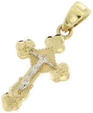 Kreuz Anhänger Gold 585 14 Karat griechisch russisch orthodoxe Bicolor 23x11mm