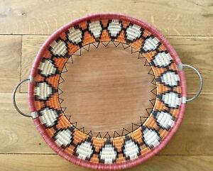 Vintage Woven Basket Sever Tray Ethnic Metal Handles