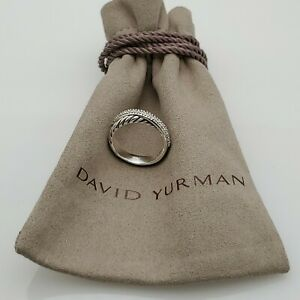 David Yurman 5MM Crossover Ring with Pave Diamonds Size 5