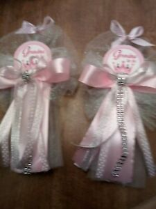 2 Grandma Baby shower corsage  silver and pink Princess crown