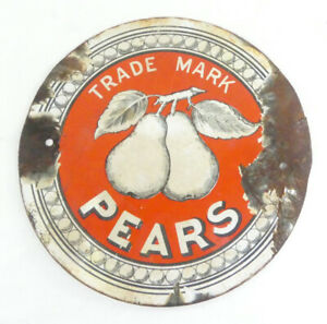 "Pre-war Enamel Sign - TRADE MARK PEARS SOAP - Pictorial 7"" Diameter"