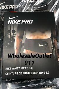 New Nike Pro Large Waist Wrap Adult Black Support Exercise Training Gym #31