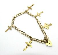 Ladies/womens, 9ct/9carat yellow gold charm bracelet with a variety of crosses