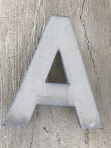"""Large """"A"""" Vintage Industrial Store Salvage Sign Heavy Metal 16"""" Letter Outdoor"""