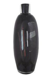 "GEORGE ELLIOTT Bewdley Studio Glass Bottle Vase Vertical Canes 8 3/4"" Tall"